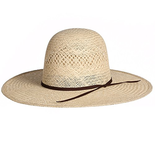 Rodeo King Mens Jute Open Crown 4 1/4 Brim Straw Cowboy Hat 71/2 Natural Brim Straw Cowboy Hat