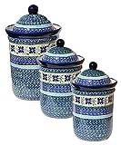 Polish Pottery 3 Pc Canister Set From Zaklady Ceramiczne Boleslawiec 1244/1243-du121