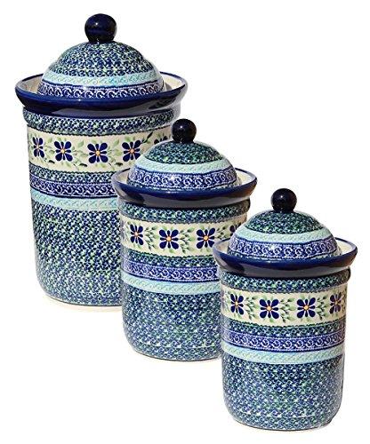 (Polish Pottery 3 Pc Canister Set From Zaklady Ceramiczne Boleslawiec 1244/1243-du121)