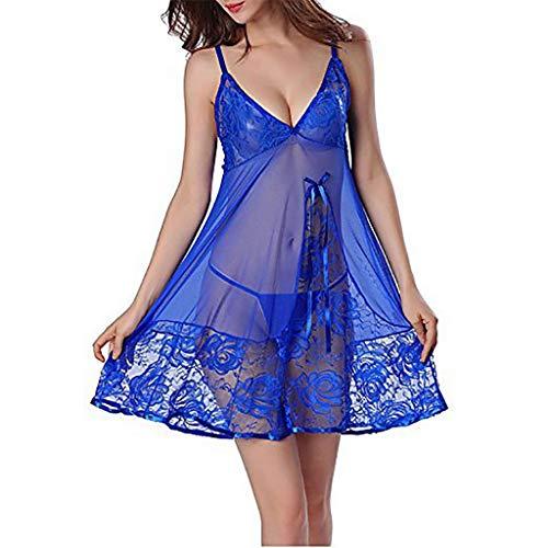 T T Store Pajamas Ladies Strap V-Neck Perspective Sexy lace Bow tie Split Nightdress Ladies Sexy Soft Pajamas - Tie Bodystocking Bow