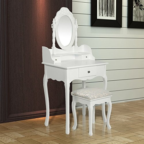 Beautiful Scrivania Specchio Con Sgabello E Cassetti Shabby Chic: Amazon.it: Casa E  Cucina