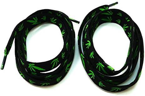 靴ひも(靴紐) シューレース 平紐 黒地 マリファナ グリーン ETSR-806【105cm,SHOELACE,くつひも】