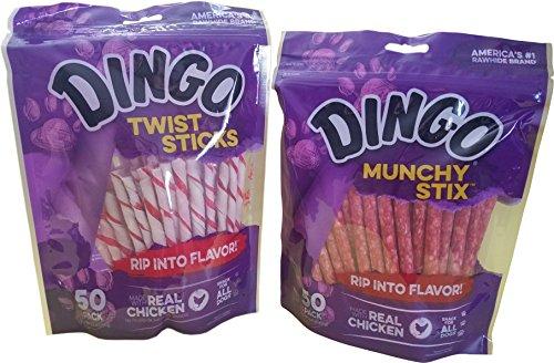 Dingo Treat Sticks (1) Munchy Stix (1) Bundle, 2 bags total