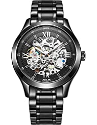 BOS Mens Automatic self-wind mechanical Pointer Skeleton Watch Black Dial Stainless Steel Band 9008