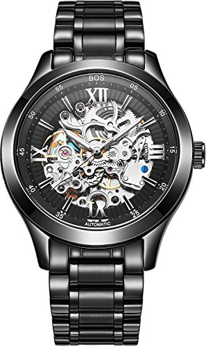 BOS Men's Automatic self-Wind Mechanical Pointer Skeleton Watch Black Dial Stainless Steel Band 9008 ()