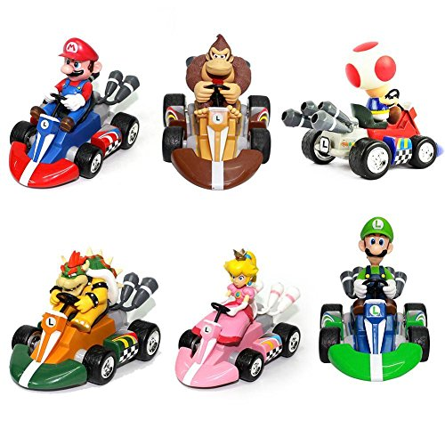 Taghua 6PCS Super Mario Pull Back Kart Racer Car Donkey Kong Luigi Yoshi Toad Princess Action Figures Toy for Kids Gift