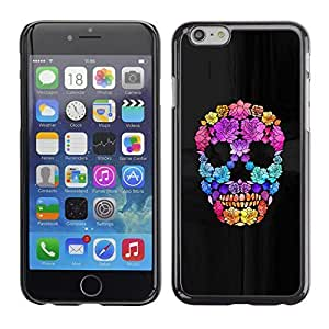 Colorful Printed Hard Protective Back Case Cover Shell Skin for Apple iPhone 6(4.7 inches) ( Flowers Spring Deep Meaning Skull )