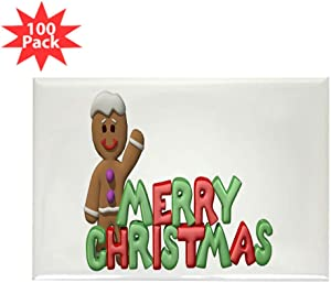 CafePress Merry Christmas Gingerbread Man Rectangle Magnet (Rectangle Magnet (100 pack)