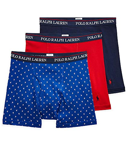 (Polo Ralph Lauren Classic Fit Cotton Boxer Brief 3-Pack, L, Navy/Red/Royal)