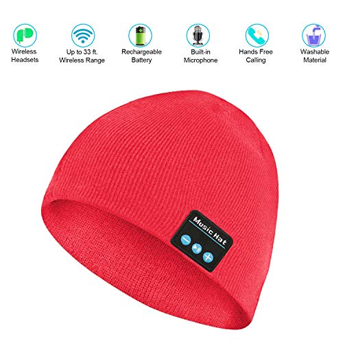 Archaeus Bluetooth Beanie Hat Wireless Bluetooth Cap Headphone with Built-in Microphone HD Stereo for Winter Outdoor Sports(Red)