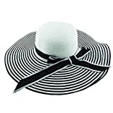 LOVEHATS Women Straw Beach Hat Large Brimmed Hat Fashion Wind Black White Striped Bowknot Summer Sun Hat 1