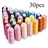 Sewing Thread 30 Assorted Colors 250 Yards Per Unit Polyester Thread Spool Set Used by Hand or Machine