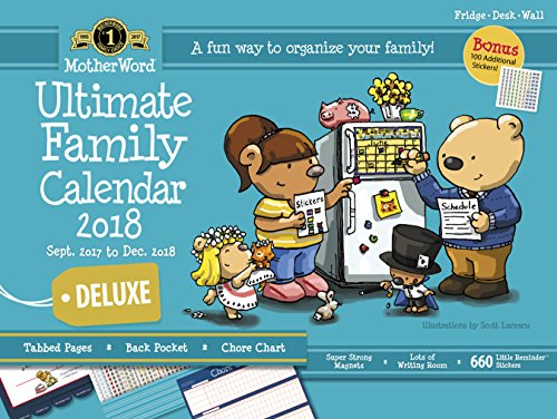 """MotherWord MWFC01-28 Ultimate Family 16-Month Magnetic Wall Calendar, Deluxe Version, Sept 2017-Dec 2018, English, 18x13-1/2"""""""