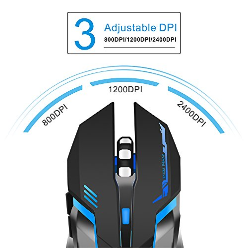 bace7f80b2b TENMOS T10 Wireless Gaming Mouse Rechargeable Optical Led 2.4GHz USB  Computer Mouse, 3 Adjustable