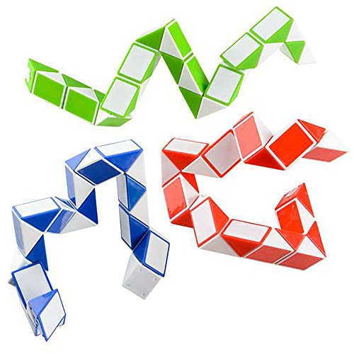 Assorted Twist Puzzle Snake -- 12 Pieces Brain Teaser Toy - Stimulator, Gift Ideas, Classroom Rewards, Party Favors, Great for Fidgeting, Keep Kids Occupied, Stress Reliever at Work, Game Prizes ()