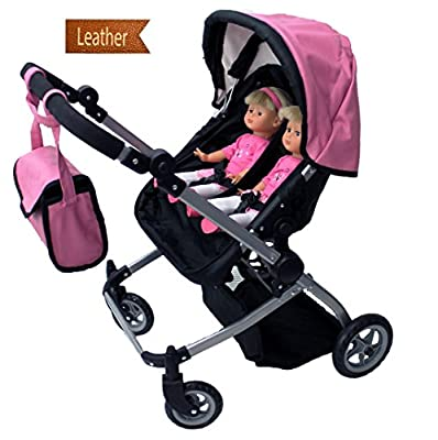 Babyboo Luxury Leather Look Twin Doll Pram/Stroller with Free Carriage (Multi Function View All Photos) - 9651A Pink