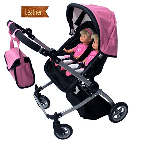 Babyboo Luxury Leather Look Twin Doll Pram/Stroller with Free Carriage (Multi Function View All Photos) - 9651A Pink (Stroller Doll Baby Double)