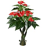 GTidea 3.3 Feet Artificial Tree Anthurium Flowers Decorative Silk Plants Home Office Arrangements Indoor Outdoor Greenery Decor