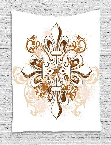 Ambesonne Fleur De Lis Tapestry, Ancient Antique Heraldry Symbol Vintage Floral Swirls Traditional Old Fashion, Wall Hanging for Bedroom Living Room Dorm, 60 W X 80 L Inches, White Brown
