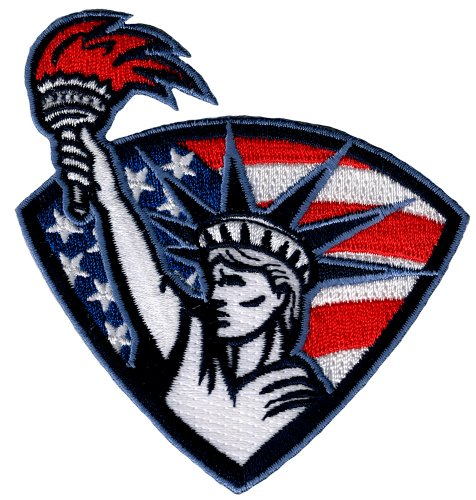 Statue of Liberty Patch Embroidered Iron-On Patriotic American Flag Emblem