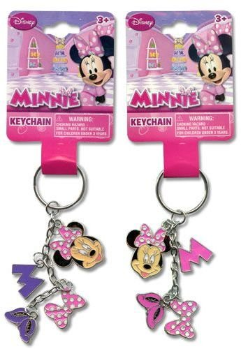 Disney Minnie Mouse Metal 4 Charm Dangle Keychain - Purple (1 piece)