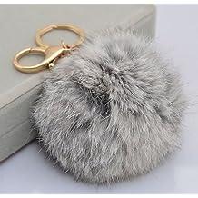 OALY Plush Rabbit Fur Ball Key Chain Car Key Chain Ornaments Lady Fashion Bag Pendant Grey