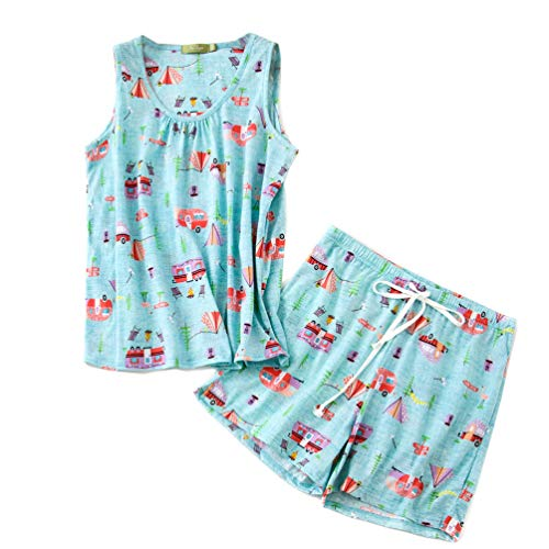 ENJOYNIGHT Women's Cute Sleeveless Print Tee and Shorts Sleepwear Tank Top Pajama Set (X-Large, - Sleep Tank
