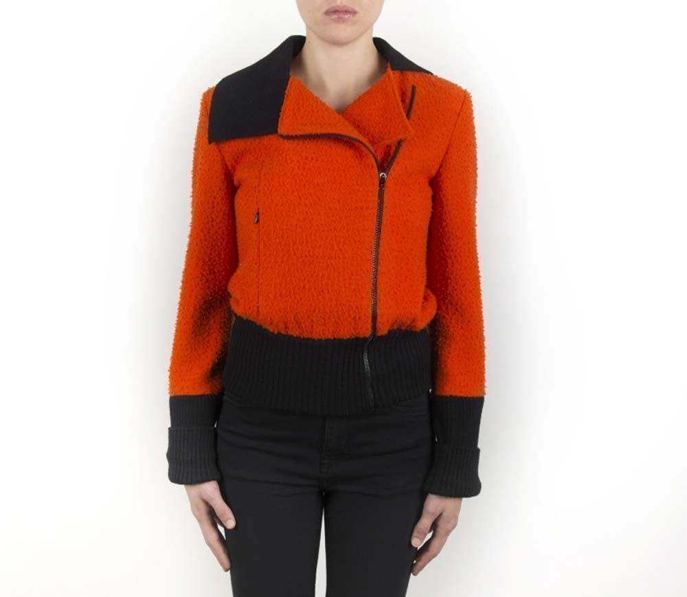 Jacket, Bomber, Outerwear, Casual, Woman, Girl, Wool, Orange, Black, Unique piece, USA size 8, Italian style, Italian fabric, Made in Italy, Handmade