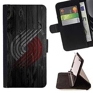 BullDog Case - FOR/Samsung Galaxy S6 EDGE / - / Red White Logo Wood /- Monedero de cuero de la PU Llevar cubierta de la caja con el ID Credit Card Slots Flip funda de cuer