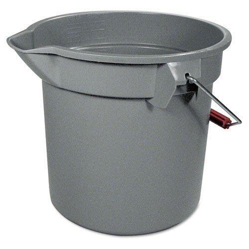 Rubbermaid Commercial 14-Quart BRUTE Round Utility Pail, Plastic, 12dia x 11 1/4h, Gray - one pail.