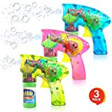 ArtCreativity Friction Powered Light Up Bubble Blaster Set (Set of 3) | Includes 3 LED Bubbles Guns & 6 Bottles of Bubble Fluid | Outdoor, Indoor Fun | Gift Idea, Party Activity | No Batteries Needed