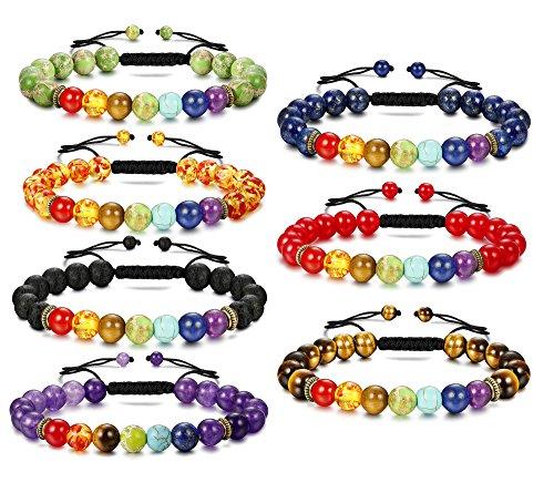 Besteel 7 Pcs Natural Stone Chakras Bracelet for Men Women Crystal Healing Yoga Bead Bracelet Adjustable