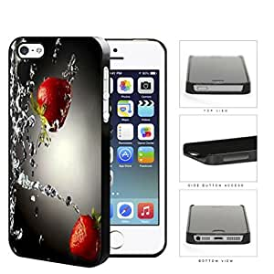 Strawberries With Water Splashing Hard Plastic Snap On Cell Phone Case Apple iPhone 5 5s