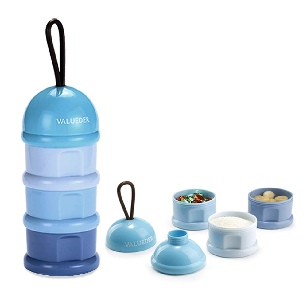 Baby Milk Powder Formula Dispenser & Snack Storage Container with Funnel & Carry Handle, Non-Spill Twist-Lock Stackable, 3 Feeds, Blue