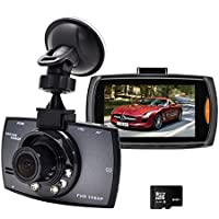 Dash Cam,Samjat 2.7 Screen FHD 1080P 140 Wide Angle Car DVR Vehicle Dashboard Camera Recorder with G-Sensor Night Vision Parking Monitor Loop Recording,Vehicle On-dash Video (8GB Card Included)
