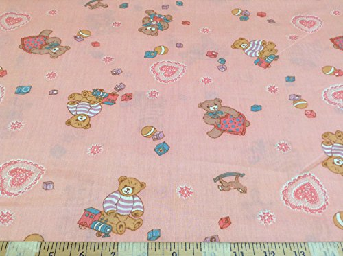 Discount Fabric Quilting Cotton Teddy Bears Pink CT039 (Fabric Teddy Bear)