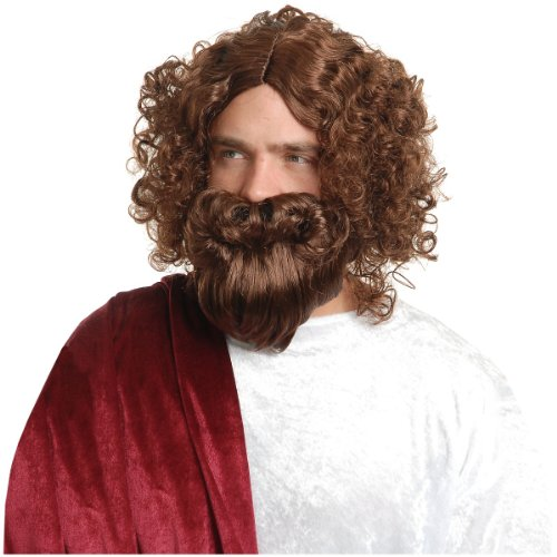 Jesus Wig and Beard Costume Accessory by Charades