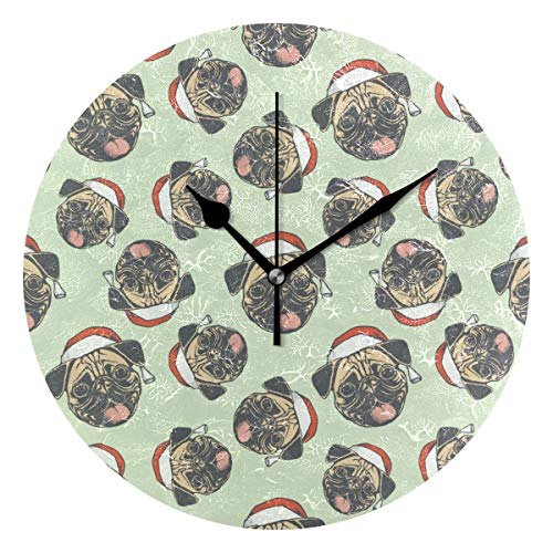 Georgia Bulldogs Round Clock - Jacksonnd Blithed Georgia Bulldog Christmas Ornaments Round Wall Clock Mute Easy to Read Oil Painting Country Style Dual-use Clockwork Artwork