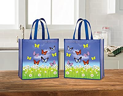 Tote Bag - Reusable Shopping Bag, Heavy Duty, Eco-Friendly Butterfly Tote Bag, Set of 2