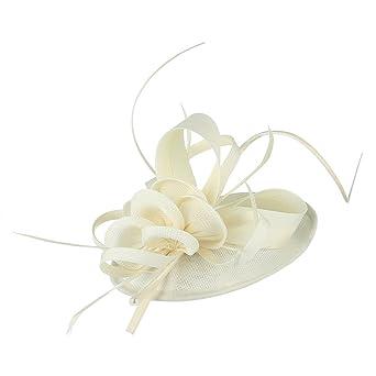EOZY Mujer Tocado de Pelo Sombrero Vintage Blanco arroz  Amazon.es  Ropa y  accesorios 410ac0a33e3