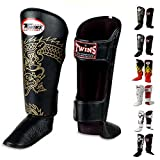 Twins Special Shin Guard Protector Fancy FSG Color Black White Gold Silver Size S M L for Protection in Muay Thai, Boxing, Kickboxing, MMA