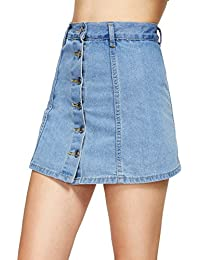 Women's Casual Distressed Ripped A-Line Denim Short Skirt