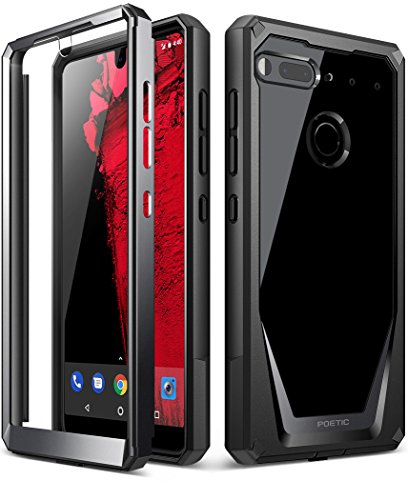 Essential Phone PH-1 Case, Poetic Guardian [REVISED VERSION] [Scratch Resistant] [360 Degree Protection] Full-Body Rugged Clear Bumper Case with Built-in-Screen Protector for Essential PH-1 Black Front Bumper Gloss