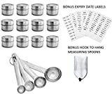 Stainless Steel Magnetic Spice Tins + BONUS 45 Expiry Date Labels and Stainless Steel Adhesive Hook for 4 Stainless Steel Measuring Spoons + 151 Spice Labels (12 Pack)