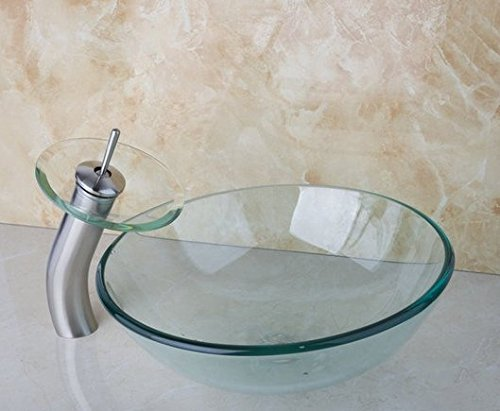 GOWE Newly Art Round Victory Clear Glass Bathroom Washbasin Sinks Glass Sink With Nickel Brushed Faucet Set 2
