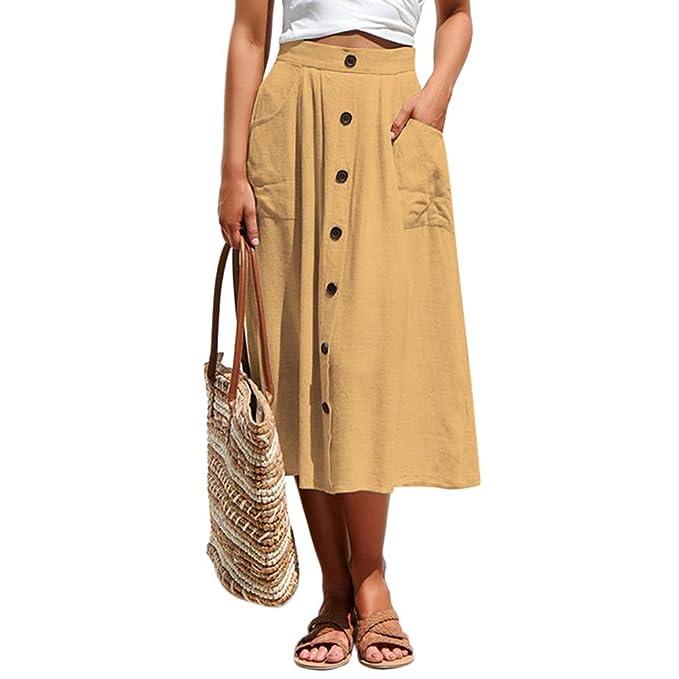 Beauty7 Mujer Falda Sólido Vintage Casual de Cintura Alta Elástica ...