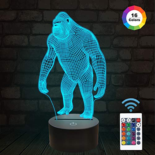 3D Night Light Ape Gorilla LED Nightlight Baby Nursery Monkey Lamp for Kids' Room Home Décor Xmas Birthday Gifts with 16 Color Changing (Plate Of The Apes)