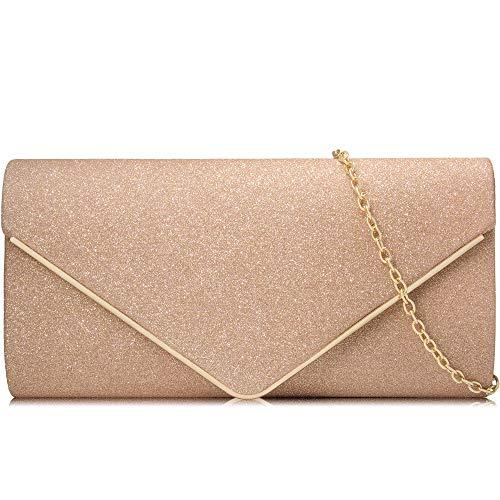 Milisente Women Clutches Glitter Sequins Evening Bag Elegant Envelope Shoulder Bag(Champagne)