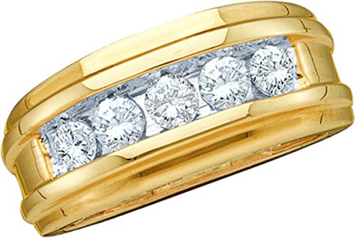 Jewels By Lux 14kt Yellow Gold Mens Round Diamond Single Row Wedding Band Ring 1/4 Cttw Ring Size 9