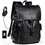 Backpack for Men with USB Charging Port Leather Backpack School College Bookbag Laptop Computer Backpack Leather Travel Bag Extra Capacity Casual Daypacks (Black)